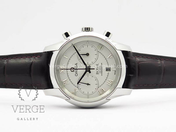 DE VILLE CHRONOGRAPH SS WHITE DIAL ON BROWN LEATHER STRAP OMF