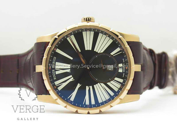 ROGER DUBUIS EXCALIBUR 42MM DBEX0536 RG GRAY DIAL ON BROWN LEATHER STRAP RDF