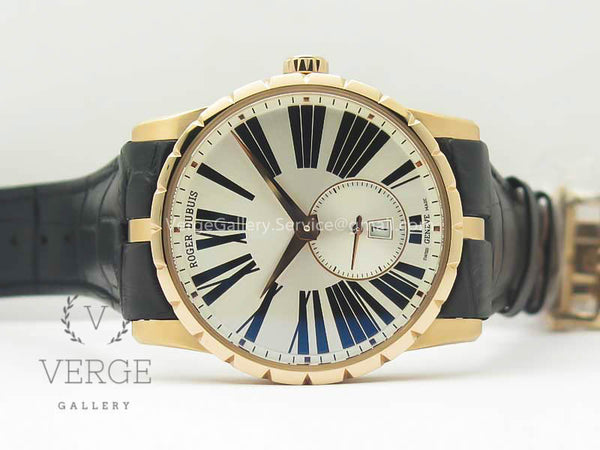 ROGER DUBUIS EXCALIBUR 42MM DBEX0536 RG SILVER DIAL ON BLACK LEATHER STRAP RDF