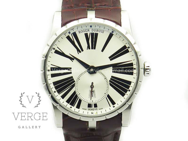 ROGER DUBUIS EXCALIBUR DBEX0535 SS WHITE DIAL ON LEATHER STRAP