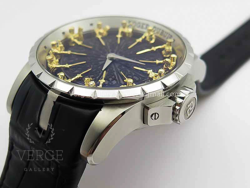 ROGER DUBUIS EXCALIBUR RDDBEX0495 SS BLACK DIAL ON BLACK LEATHER STRAP