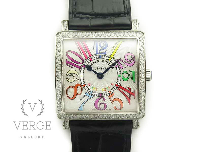 MASTER SQUARE SS LADIES WHITE COLOR MARKERS DIAL DIAMOND BEZEL ON LEATHER STRAP GF