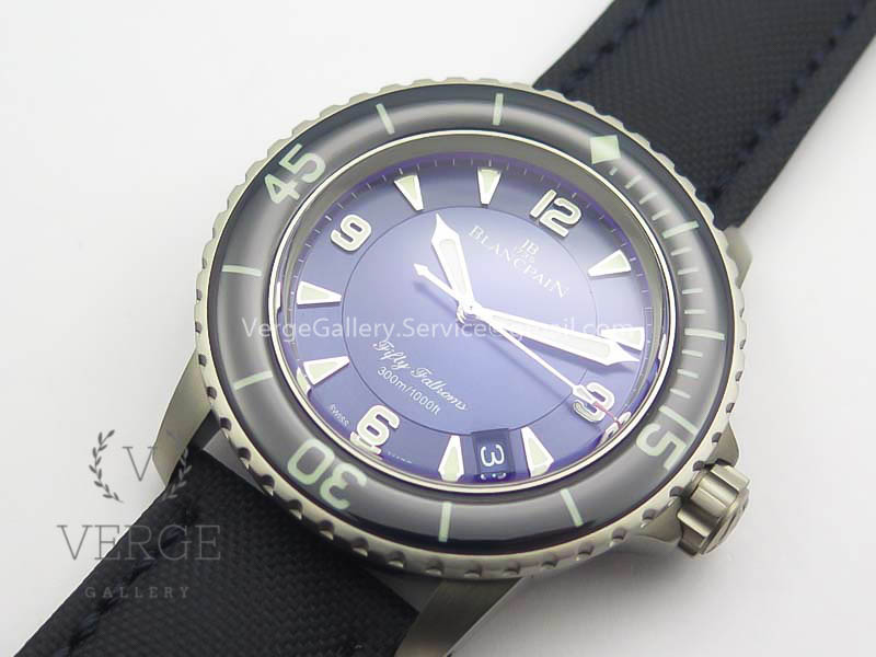 FIFTY FATHOMS TITANIUM BLUE DIAL ON CANVAS STRAP ZF