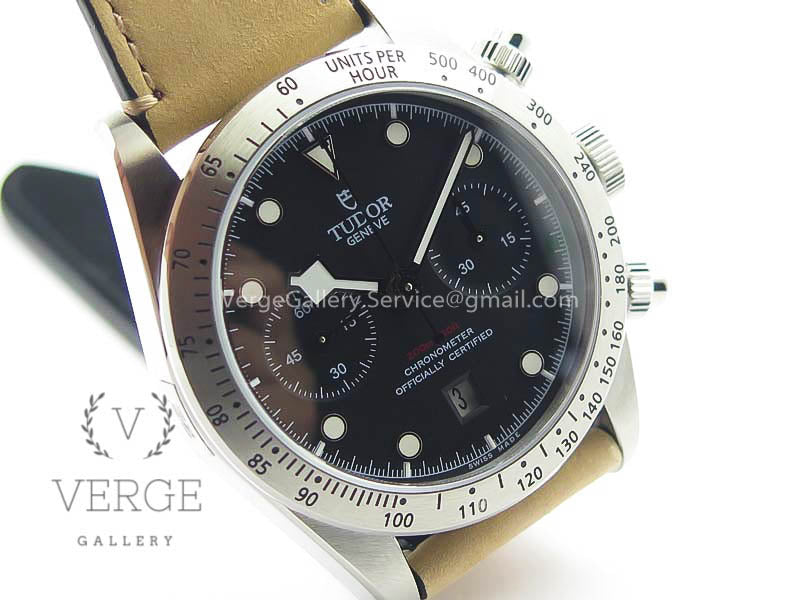 HERITAGE CHRONO 79350 SS BLACK DIAL ON LEATHER STRAP