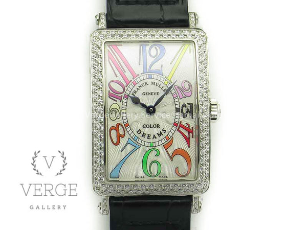 LONG ISLAND COLOR DREAM SS DIAMONDS BEZEL ON BLACK LEATHER STRAP GF