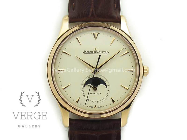 MASTER ULTRA THIN MOON 1362520 RG WHITE DIAL ON BROWN LEATHER STRAP ZF