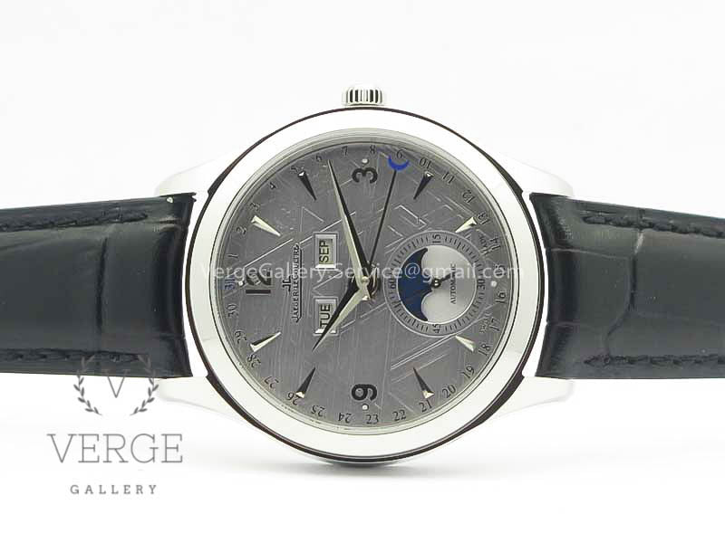MASTER CALENDAR GRAY TEXTURED DIAL ON BLACK LEATHER STRAP OMF