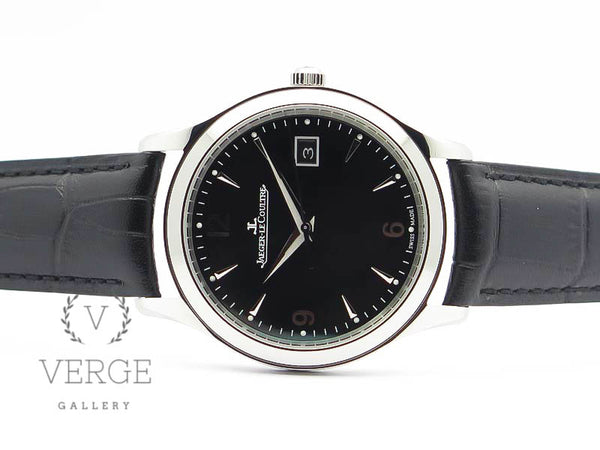 MASTER GRANDE ULTRA THIN SS BLACK DIAL ON BLACK LEATHER STRAP ZF