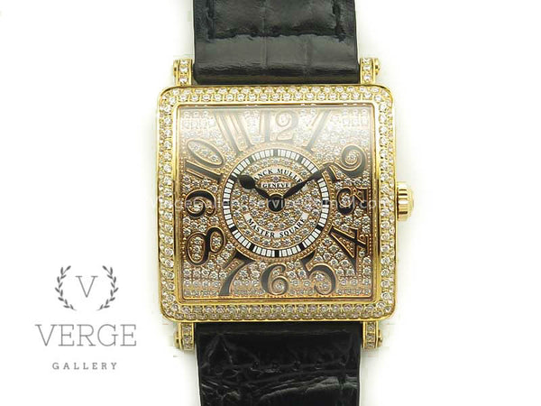 MASTER SQUARE RG LADIES FULL PAVED DIAMONDS ON BLACK LEATHER STRAP GF