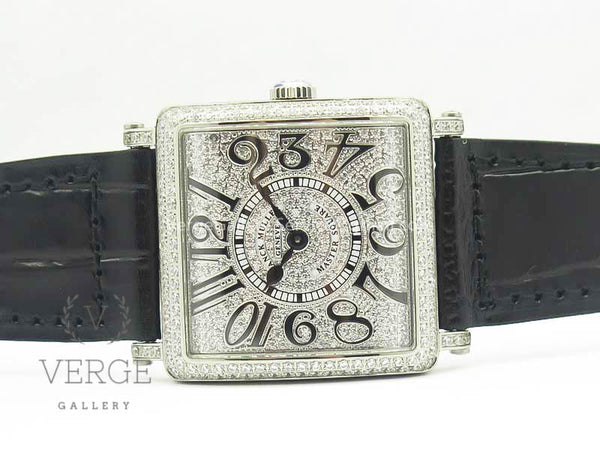 MASTER SQUARE SS LADIES FULL PAVED DIAMONDS ON BLACK LEATHER STRAP GF