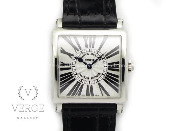 MASTER SQUARE SS LADIES WHITE TEXTURED DIAL ON BLACK LEATHER STRAP GF