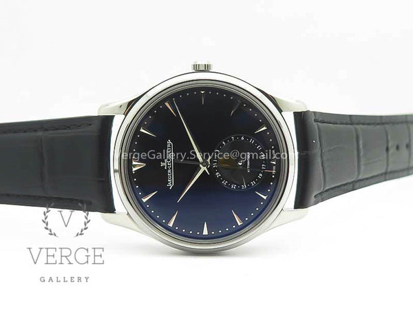 MASTER ULTRA THIN MOON 1368470 SS BLACK DIAL ON BLACK LEATHER STRAP ZF