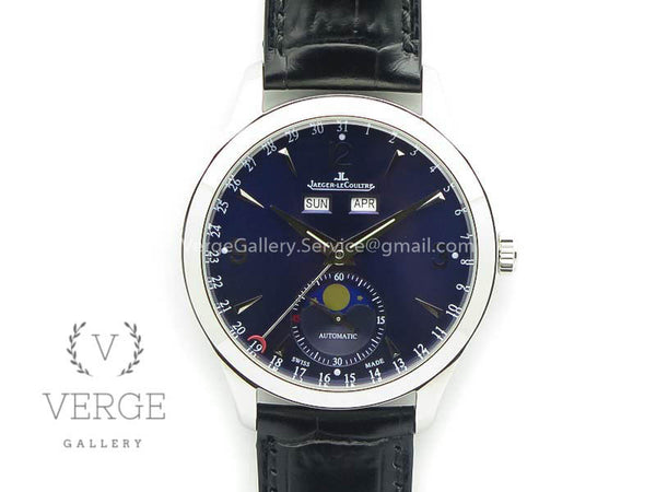 MASTER ULTRA THIN MOONPHASE SS BLUE DIAL ON LEATHER STRAP KMF