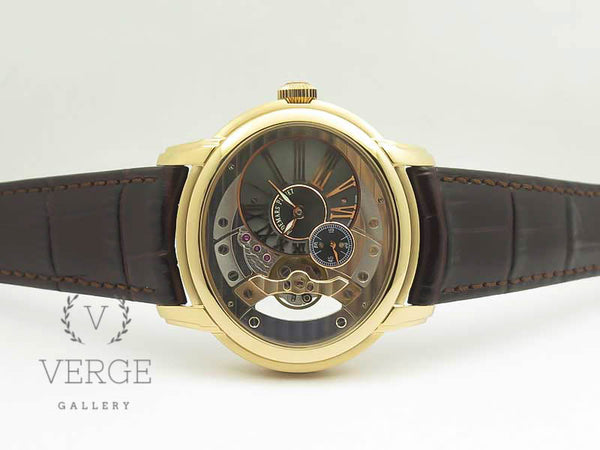 MILLENNIUM SERIES 15350 RG SKELETONAL BLACK DIAL ON DARK BROWN LEATHER STRAP V9F