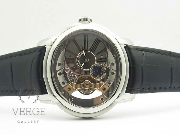 MILLENNIUM SERIES 15350 SS SKELETON DIAL ON BLACK LEATHER STRAP V9F