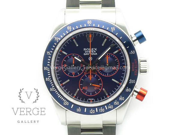 DAYTONA BLUE/RED PUSHERS BLUE DIAL ON SS BRACELET BP