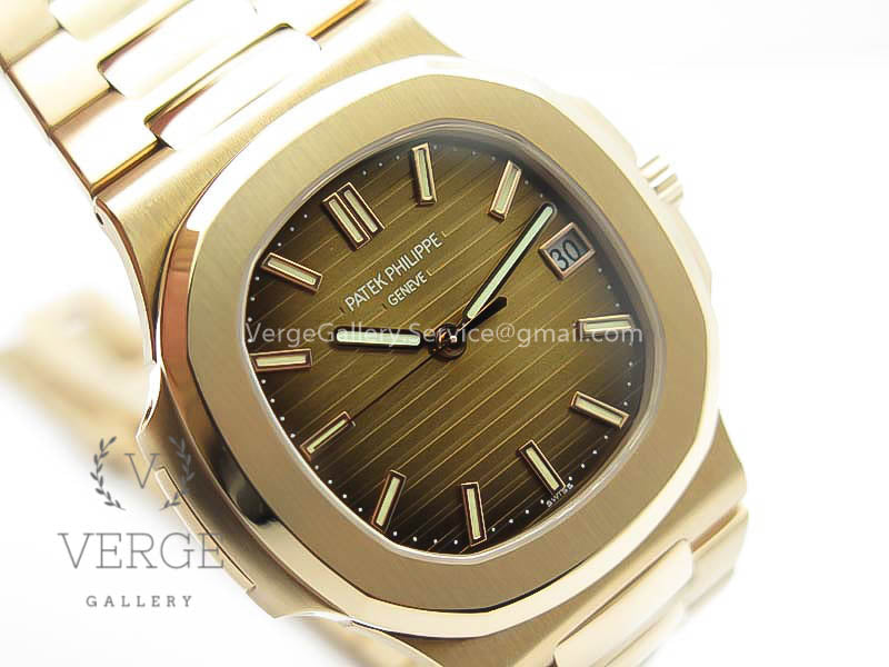 PATEK NAUTILUS 5711 RG BROWN TEXTURED DIAL ON RG BRACELET PF