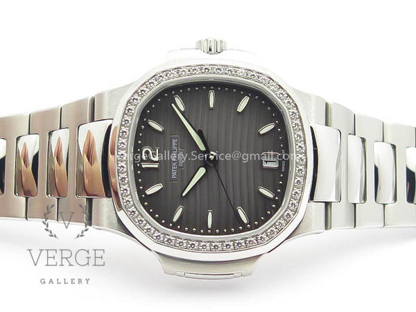 PATEK NAUTILUS JUMBO LADIES 7018 GRAY DIAL DIAMOND BEZEL ON SS BRACELET PF
