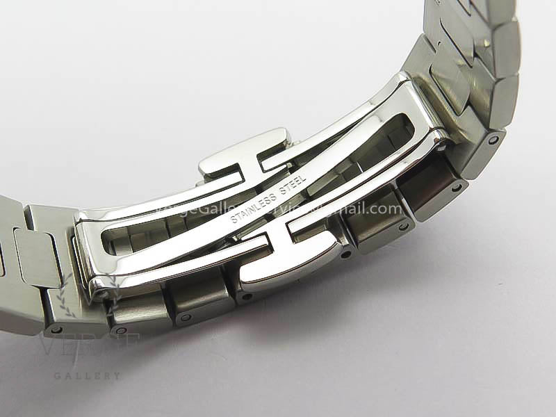 PATEK NAUTILUS JUMBO LADIES 7018 WHITE DIAL DIAMOND BEZEL ON SS BRACELET PF