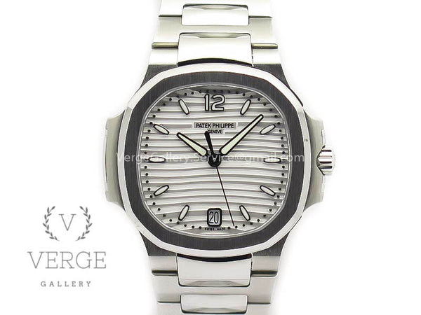 PATEK NAUTILUS JUMBO LADIES 7018 WHITE TEXTURED DIAL ON SS BRACELET PF