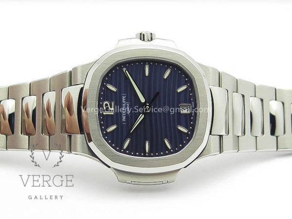 PATEK NAUTILUS JUMBO LADIES 7018 BLUE TEXTURED DIAL ON SS BRACELET PF