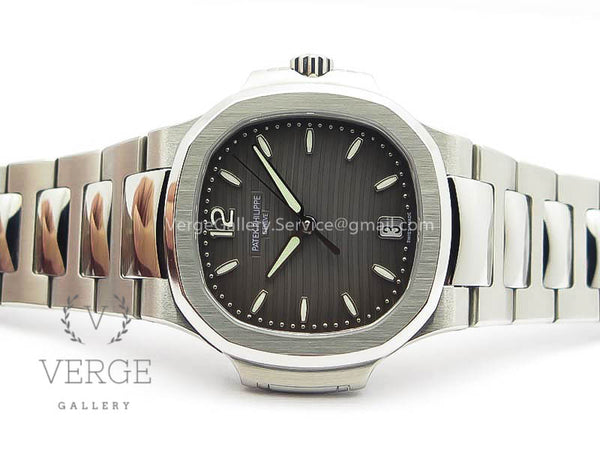 PATEK NAUTILUS JUMBO LADIES 7018 GRAY TEXTURED DIAL ON SS BRACELET PF
