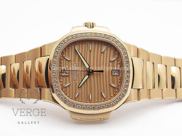 PATEK NAUTILUS JUMBO LADIES 7118 GOLD DIAL DIAMOND BEZEL ON RG BRACELET PF