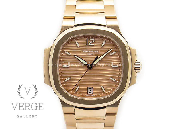PATEK NAUTILUS JUMBO LADIES 7118 GOLD TEXTURED DIAL ON RG BRACELET PF