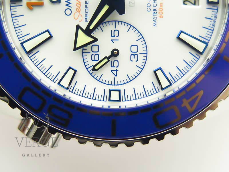 PLANET OCEAN MASTER CHRONOMETER SS BLUE/ORANGE BEZEL WHITE DIAL ON NYLON STRAP A9900 (BLACK BALANCE WHEEL) V2 OMF