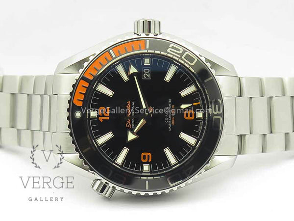 PLANET OCEAN 2016 43.5MM SS BLACK/ORANGE BEZEL BLACK DIAL ON SS BRACELET OMF V2