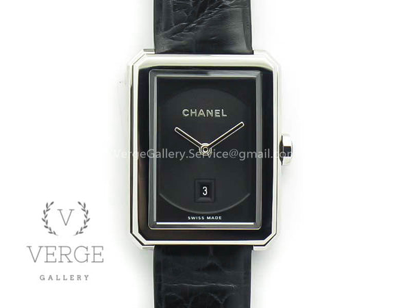 PREMIERE BOY DE CHANEL BLACK TEXTURED DIAL ON BLACK CROCODILE STRAP
