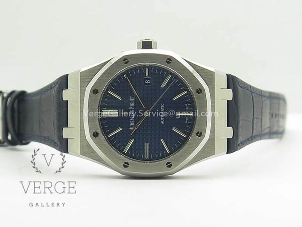 ROYAL OAK 41MM 15400 SS BLUE TEXTURED DIAL ON BLUE LEATHER STRAP V3 JF