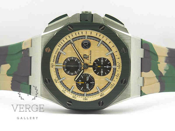 ROYAL OAK OFFSHORE 2018 SIHH 'COMBAT' 44MM GREEN CERAMIC BEZEL ON RUBBER STRAP W/ CYCLOPS JF