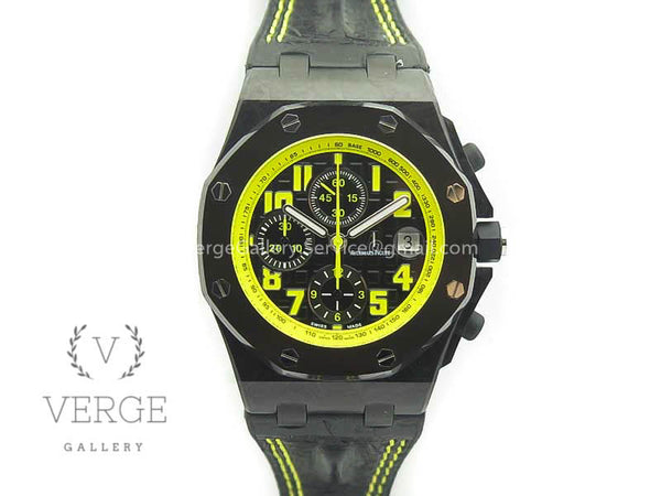 ROYAL OAK OFFSHORE BUMBLE BEE FORGED CARBON ON LEATHER STRAP A7750 V2 W/CYCLOPS JF