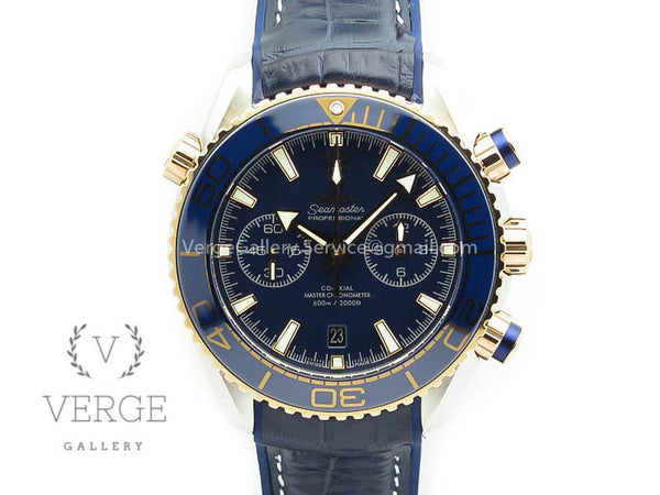 SEAMASTER PRO CHRONO SS/RG BLUE CERAMIC BLUE DIAL ON GUMMY STRAP OMF