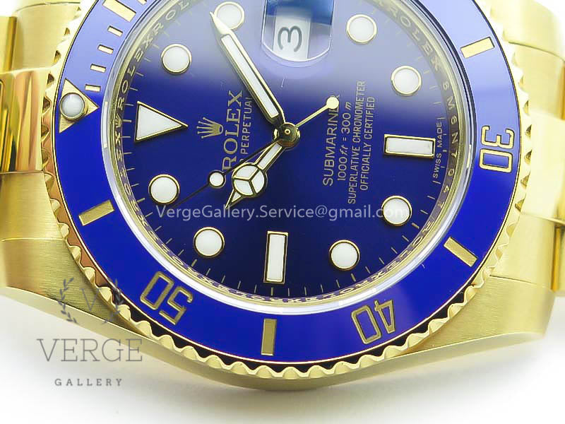 SUBMARINER 116618LB FULL YG WRAPPED BLUE DIAL ON FULL YG WRAPPED BRACELET VRF