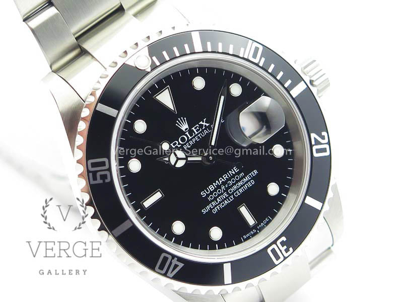 SUBMARINER 16610 LN BLACK NO REHAUT ENGRAVING ON SS BRACELET JF