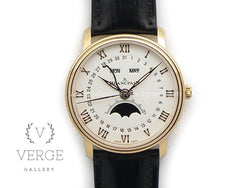 VILLERET 6654 RG COMPLICATED FUNCTION WHITE DIAL ON BLACK LEATHER STRAP OMF