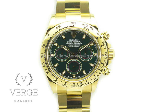 DAYTONA 116508 YG PLATED 904L SS CASE AND BRACELET GREEN DIAL ARF