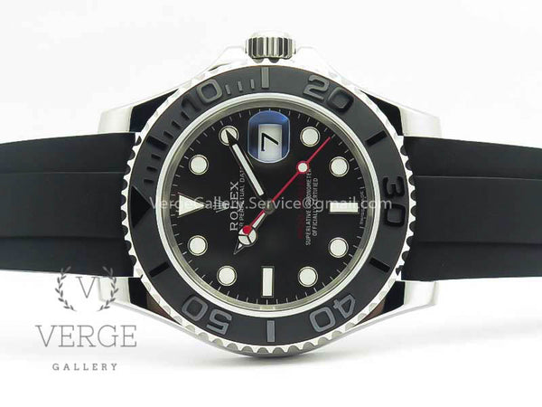 YACHTMASTER 116655 SS CUSTOM BLACK CERAMIC BEZEL ON OYSTERFLEX RUBBER STRAP ARF