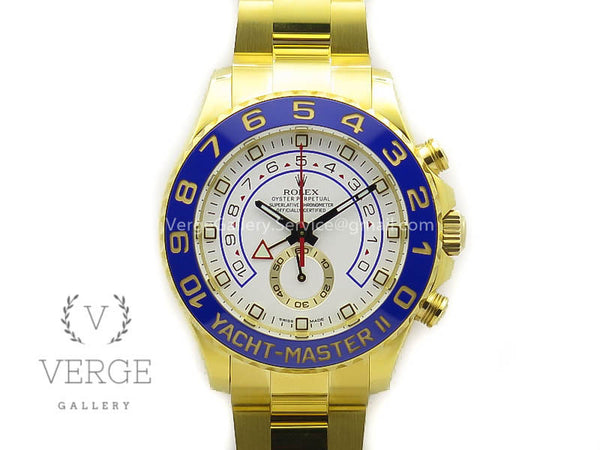 YACHTMASTER II 116688 WHITE DIAL BLUE CERAMIC BEZEL ON YG BRACELET