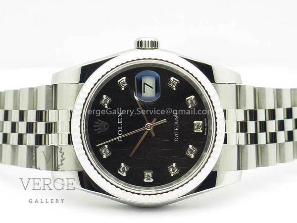 DATEJUST 116234 FLUTED BEZEL BLACK JUBILEE DIAMOND DIAL ON SS JUBILEE BRACELET DJF