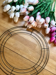Wire wreath and artificial tulips