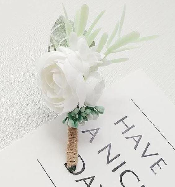 artificial white boutonniere canada delivery
