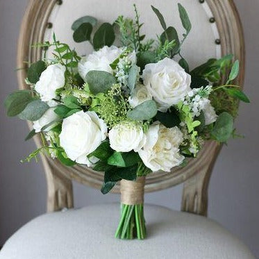 Classic White with Greenery Bridal Bouquet