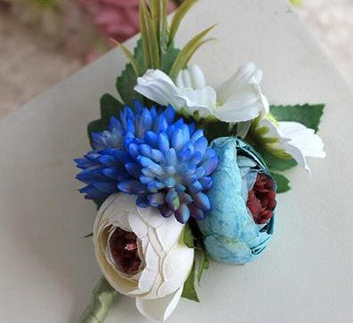 Handmade Tea Rose Silk Wrist Corsages and BoutonnieresBlue BoutonierreFlorals For Less cheap artificial fake flowers online