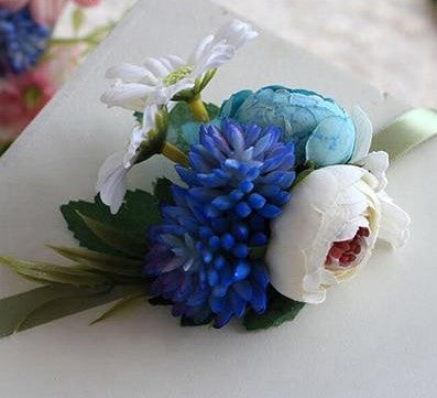 Handmade Tea Rose Silk Wrist Corsages and BoutonnieresBlue CorsageFlorals For Less cheap artificial fake flowers online