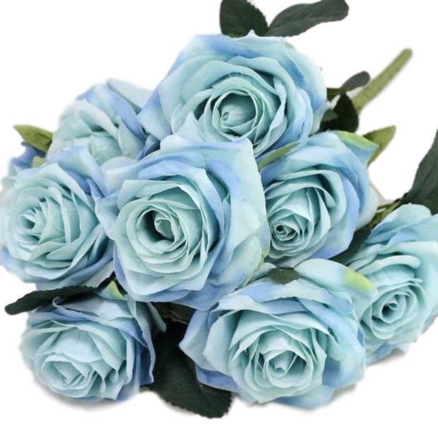 blue artificial roses