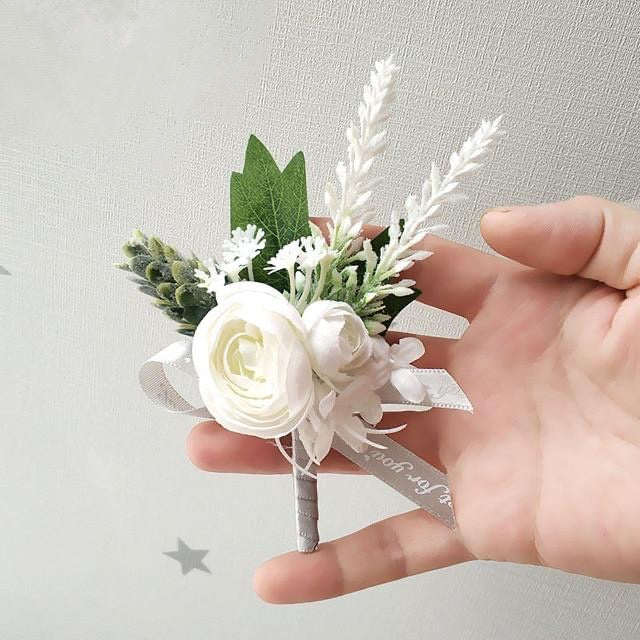 Classic Soft BoutonnieresBoutonniere D - WhiteFlorals For Less cheap artificial fake flowers online