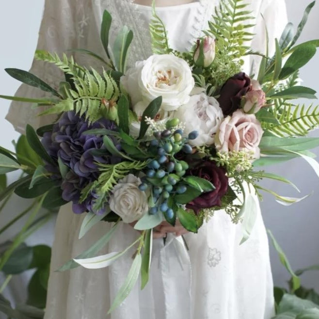 Burgundy and Blush Artificial Bridal Bouquet